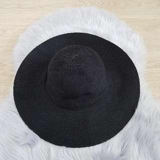 Ladies Wide Brim Black Hat
