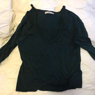 Zara Long Sleeve Knit Hunter Green Cold Shoulder