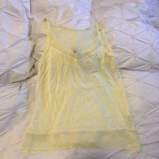 Forever New Cotton And Sheer Yellow Singlet