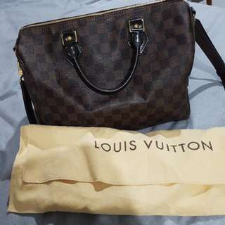 Louis Vuitton speedy 30 bandouliere in damier ebene.