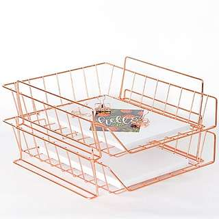 Luxe Rose Gold Desk Stackable Organiser In Out Tray Letter Document Tray