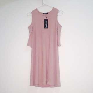 Pink Off Shoulder Dress ( Boohoo )