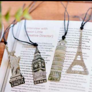 SET OF 4 Kawaii Metal Bookmark Iconic Places