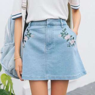 Denim Embroidered Skirt