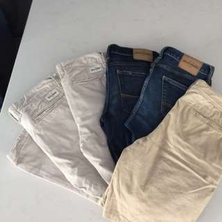 6 Pair Boys Abercrombie Fitch Jeans Pants 14 New