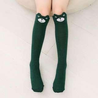 Cotton high knee socks stockings green bear
