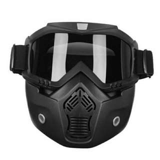 Riding Detachable Modular Face Mask Shield Goggles For Motorcycle And Bike Helmet