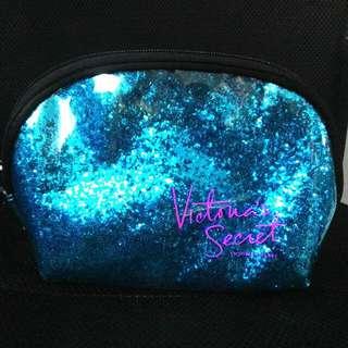 Victoria's Secret Shimmer Glitter Cosmetic Pouch - Turquiose
