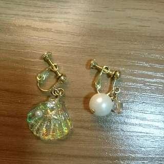 全新! 特價日系甜美可愛貝殼珍珠耳夾