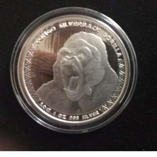 2015 Republic of Congo Silver 1 oz Silverback Gorilla (Prooflike)