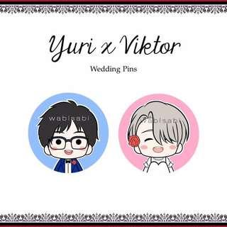 Yuri x Victor Wedding Button Pins