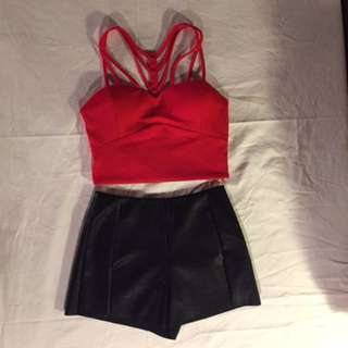 Red Strappy Crop