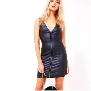 (U.P. $90) Missguided Coated Denim Bodycon Dress in Blue (UK6)
