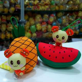 BN Rare TWO Japan U-Tan うーたん Watermelon & Pineapple Plush Accessory Charm Doll With Strap