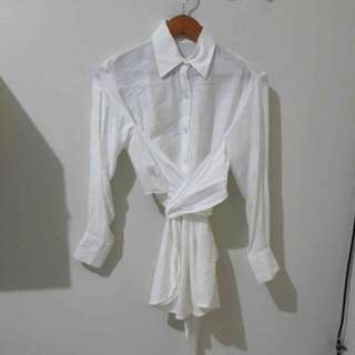 AVGAL WHITE WRAPPED BLOUSE
