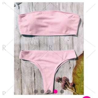 Pink Bandeau Bikini Set