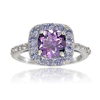 Violet Cubic Zirconia Amethyst with Small Diamonds Ring