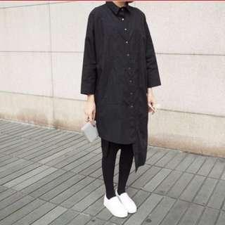 黑色不規則設計簡約長素色襯衫