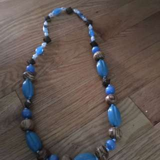 Blue And Brown Bead Necklace