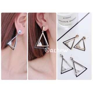 ✨全新飾品現貨👉🏻簡單單調個性三角形鑽石耳環 耳針 耳釘