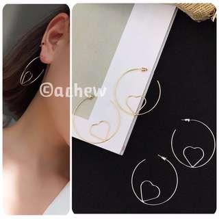 ✨全新飾品現貨👉🏻圈圈愛心造型耳環 耳針 耳釘