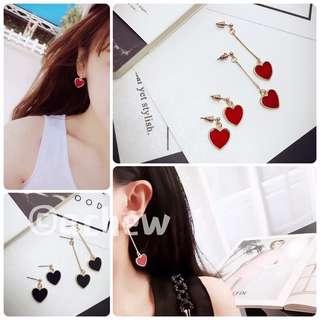 ✨全新飾品現貨👉🏻基本款紅色愛心造型耳環 耳針 耳釘