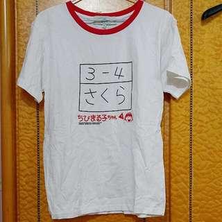 全新 櫻桃小丸子3年4班運動會紅色滾邊棉質白色短t