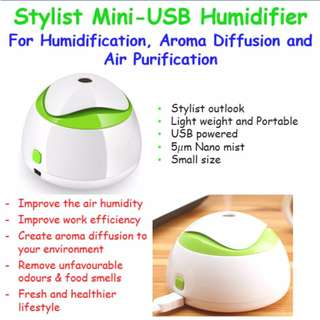Stylist Mini USB Humidifier ♥ Aroma diffusion ♥ Air purification ♥ Improve Work Efficiency ♥ Stress Relief