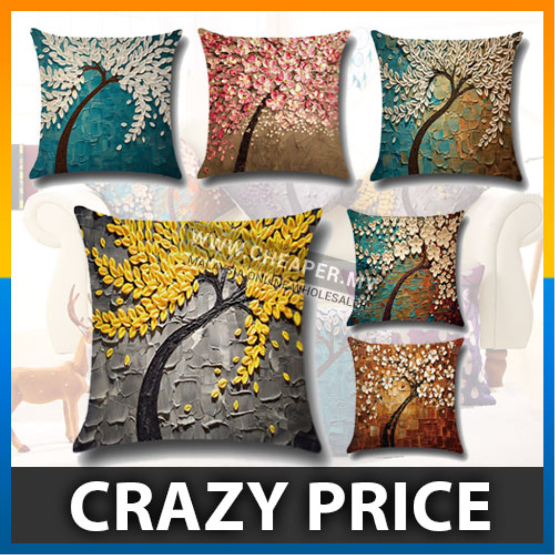 3D Painting Trees Flowers Linen Printed Pillow Case Cushion Cover