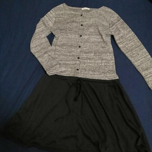 灰色混雜縮腰連身洋裝