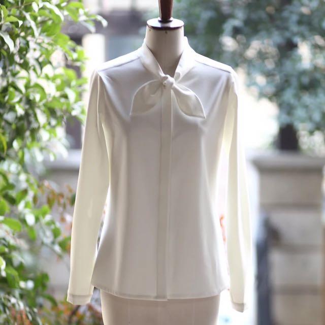 蝴蝶結厚雪紡長袖白襯衫