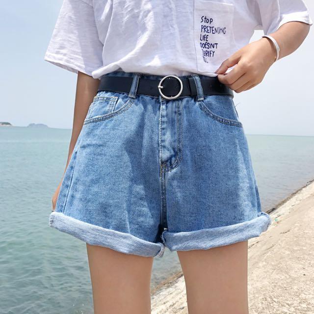 💦夏季原宿卷邊顯瘦牛仔短褲💦