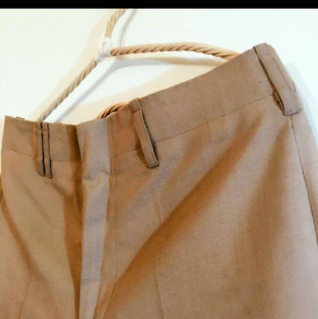 古著卡其淺咖啡直筒硬挺小寬褲西裝褲