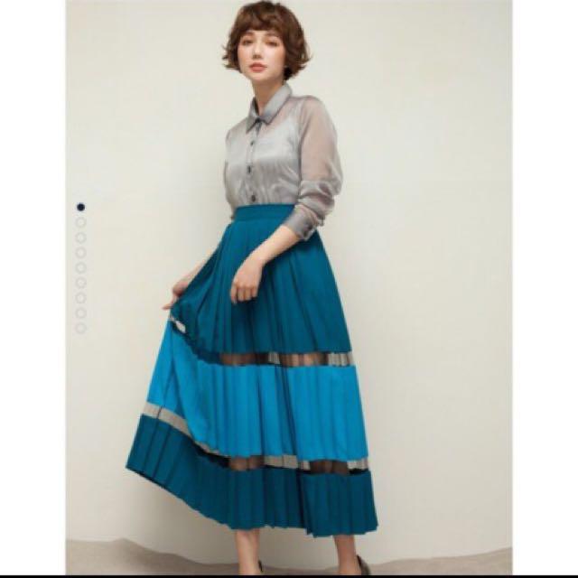 徵 Marjorie 慾望之窗 修身百褶拼色長裙 藍綠色