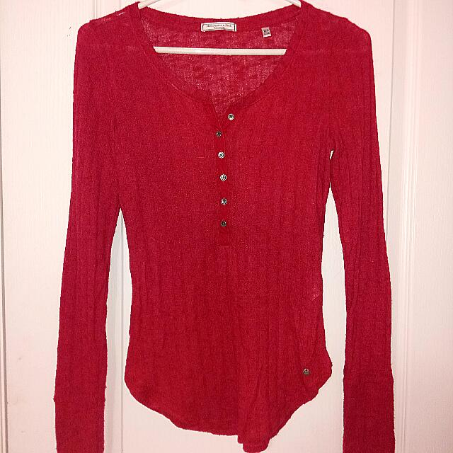 Abercrombie & Fitch Red Long Sleeve