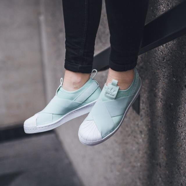 low priced 0f7ac ab5ac Adidas Superstar Slip On -Ice Mint UK5.5 Brand new, Women s Fashion, Shoes  on Carousell