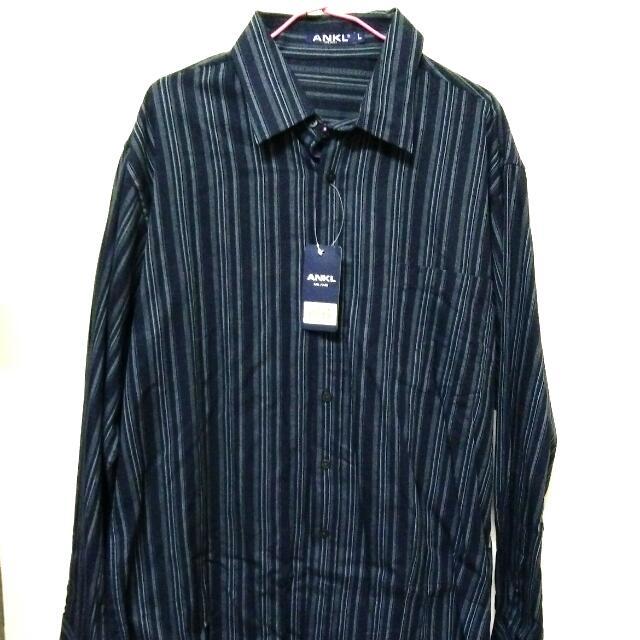 ANKL 深藍色 L號 直條紋男性襯衫