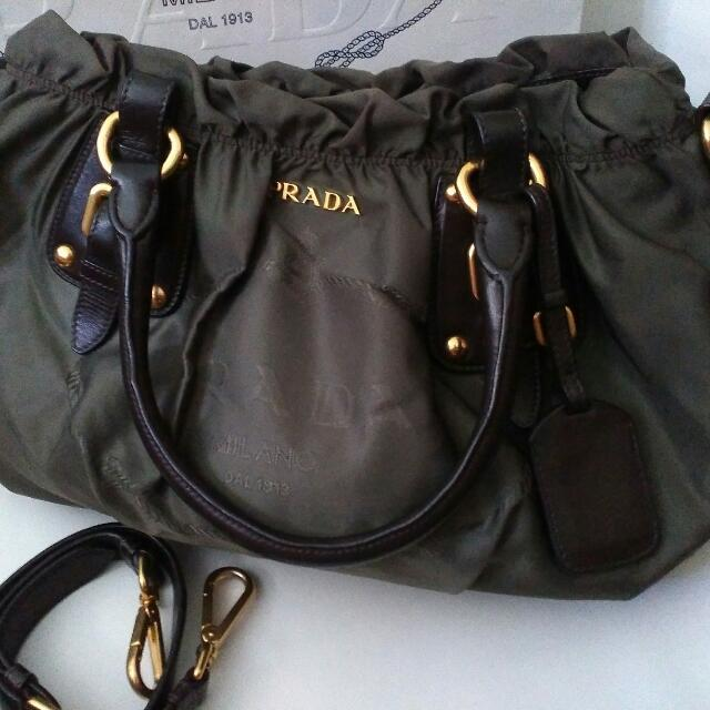 Reprice Authentic Prada Nylon Jacquard Ladies Handbag