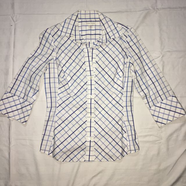 Banana Republic Blue Checkered Office Polo