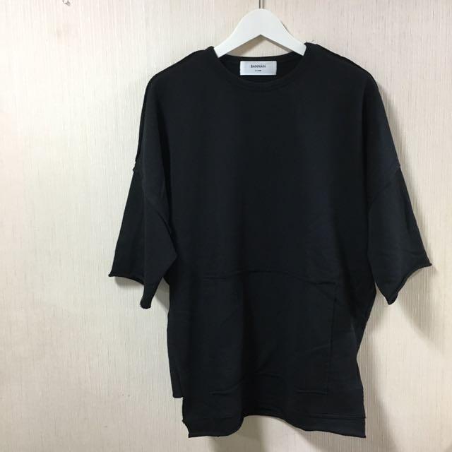 BANNAN 男落肩七分袖 T恤 M號 黑色