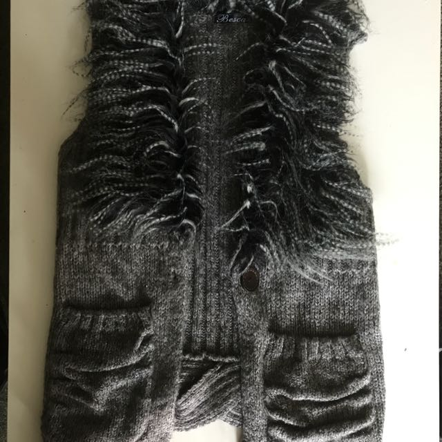 Besca Wool Vest With Faux Fur