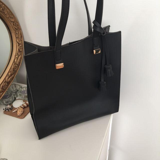 Black Shoulder Leather Suede Tote Bag