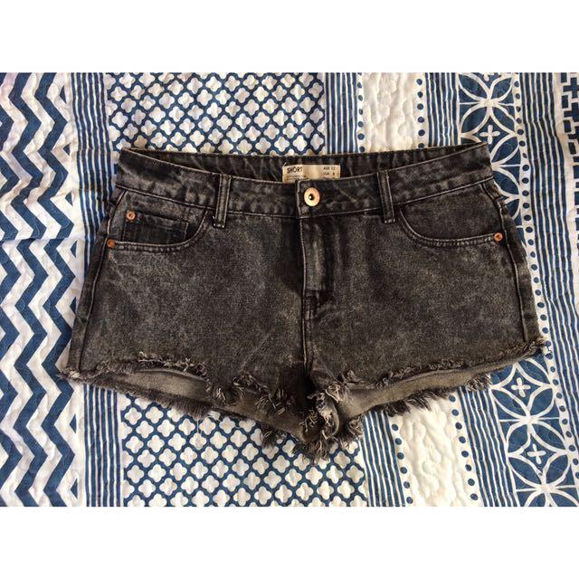 Black Wash Denim Shorts