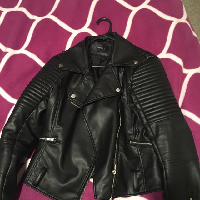 Black Whistle Leather Jacket
