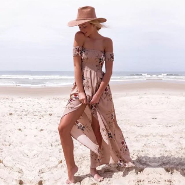 Bohemian Style Long Maxi Dress Slit Floral Beach Casual Hipster