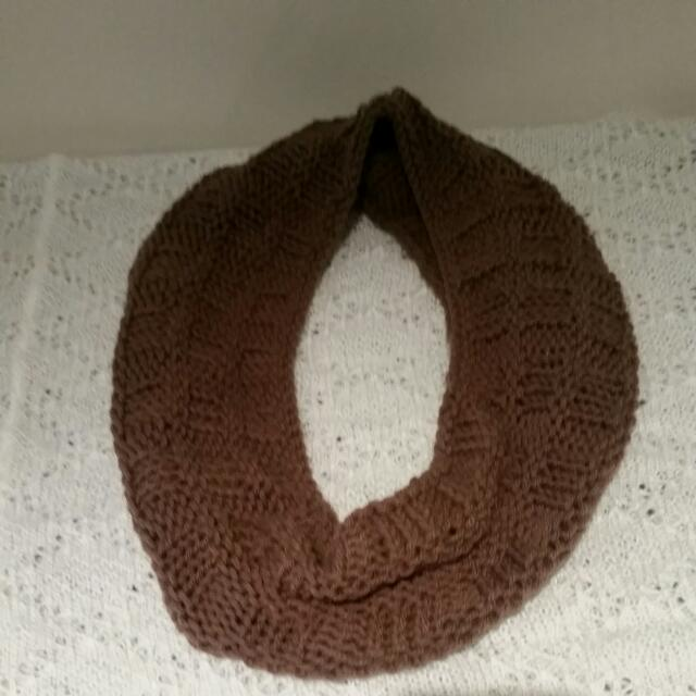 Brown Hand Knitted Cowl