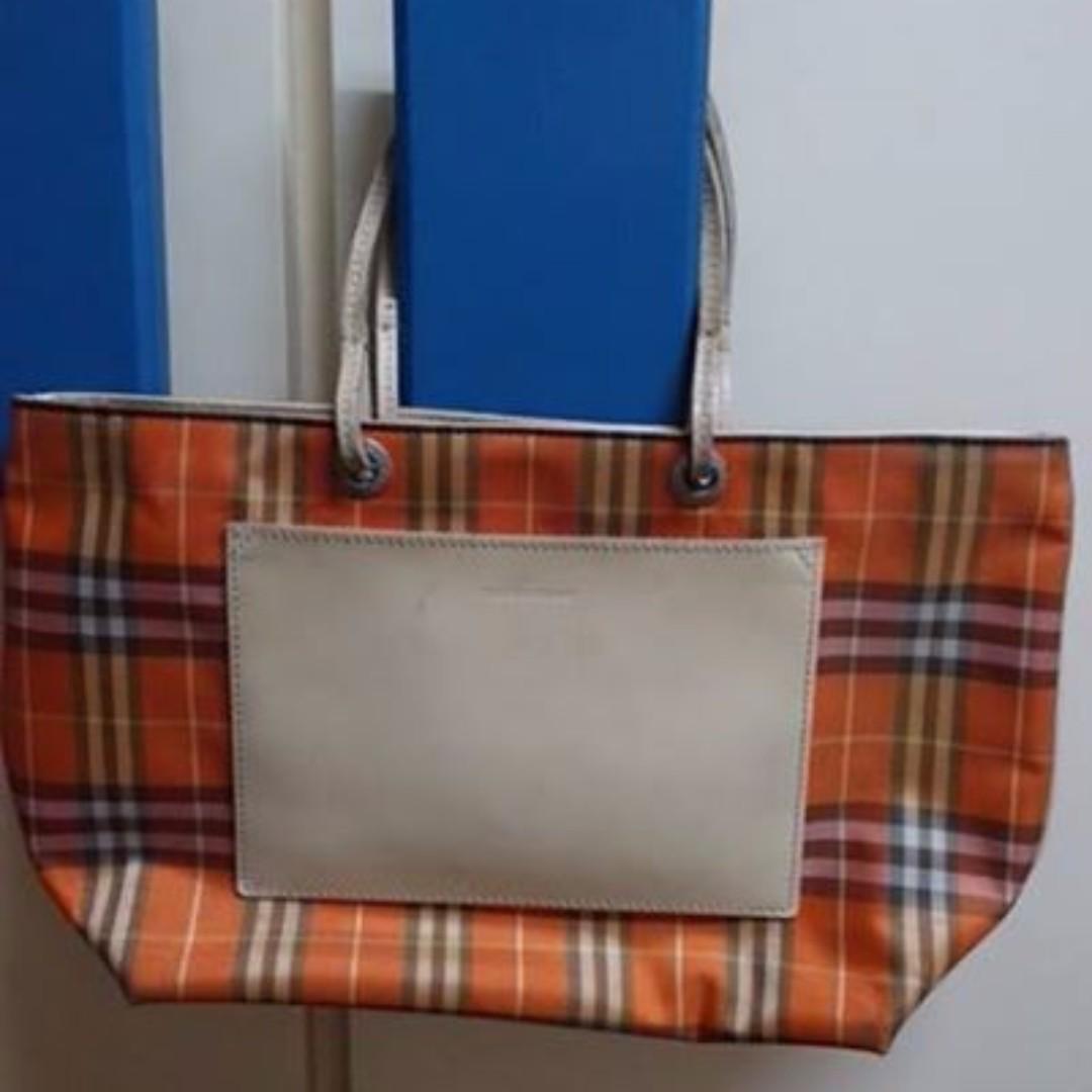 Authentic Burberry Orange Tote Bag