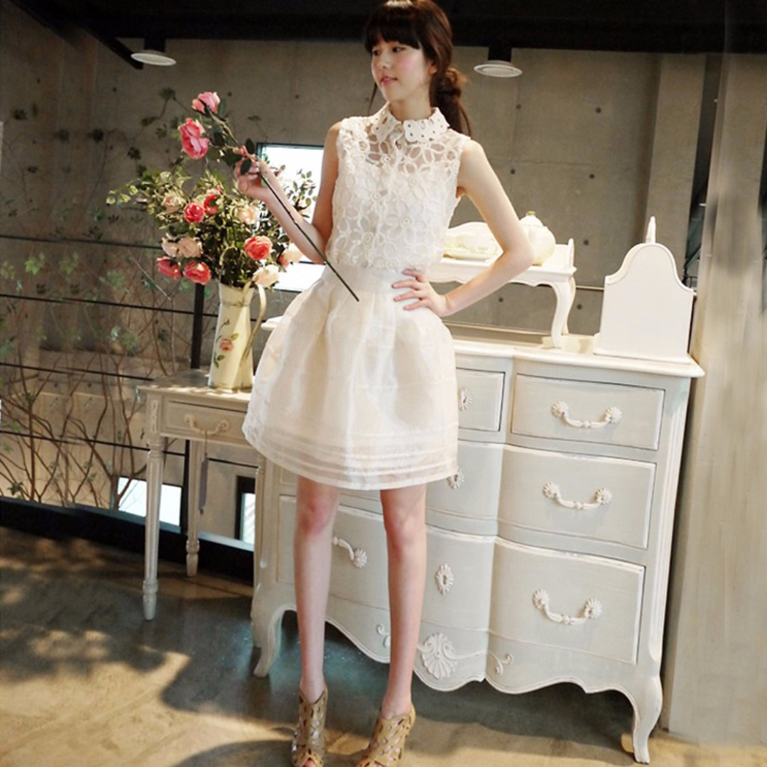 Candy Girl╭。全新現貨。公主風蕾絲三件式雪紡蓬蓬裙。杏