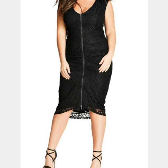 City Chic Plus Size Size M Black Lace Shutter Speed Dress