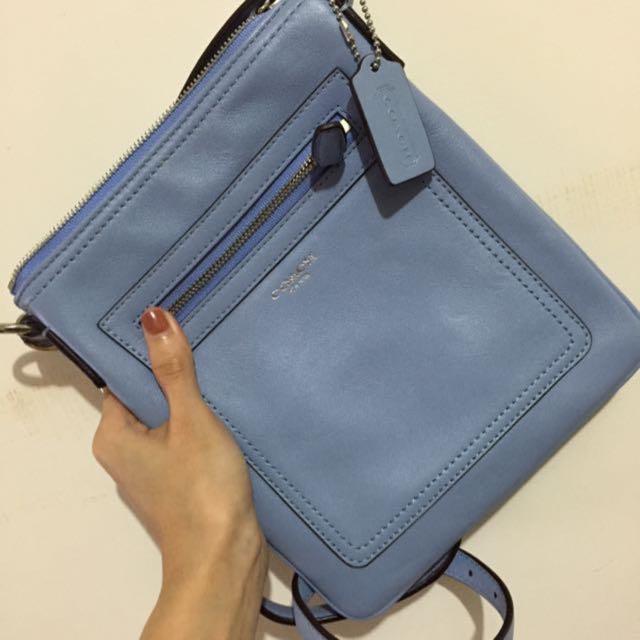 COACH全皮藍色隨身包/正品